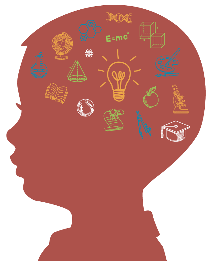 An illustration in silhouette of a young male child with educational symbols, such as a light bulb, microscope, books, etc. filling his head.